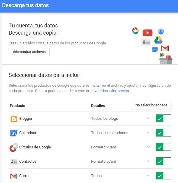 descargar copia de datos de mi cuenta google
