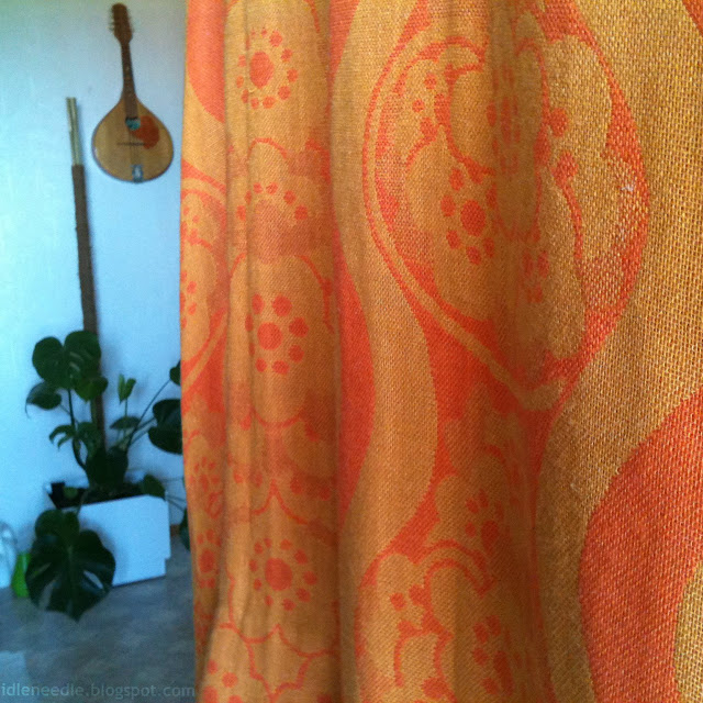 vintage retro orange curtains thrifted 60s 70s floral wave linen weave pattern