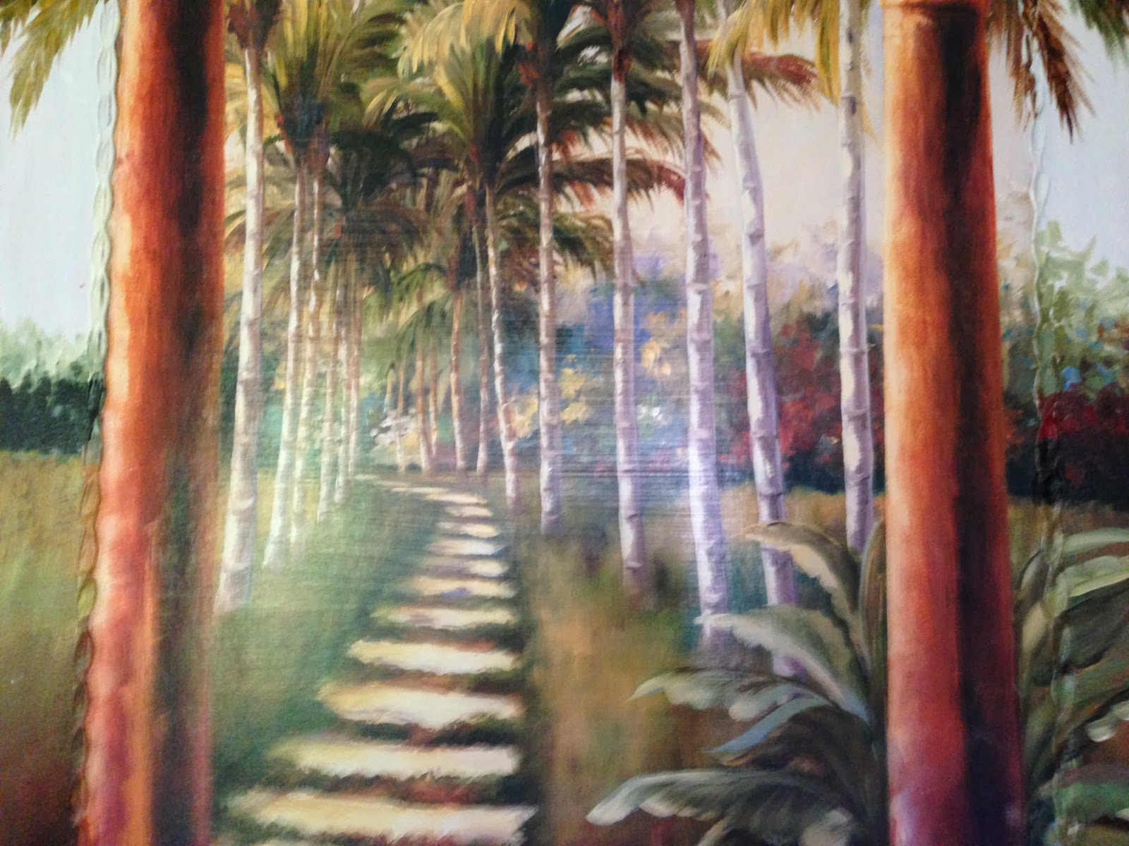 pathway through peace of mind, tall palm trees, muted light