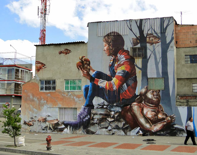 """The Artifact"" New Mural By Street Artist Fintan Magee on the streets of Bogota in Colombia. 1"