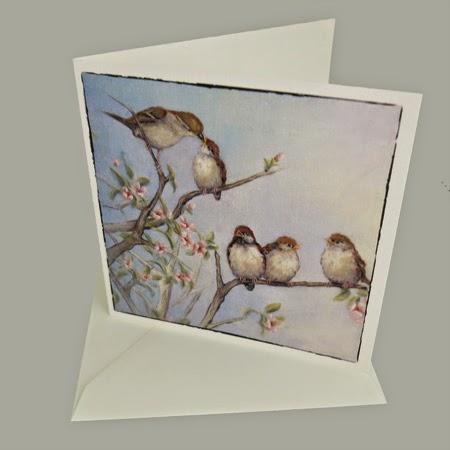 Atelier for Hope Kunstkaart incl. enveloppe, afbeelding schilderij mussen
