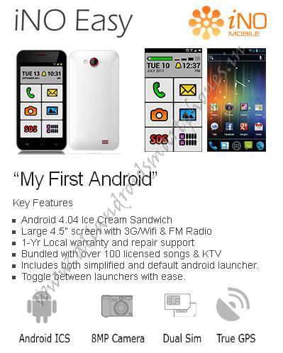 iNO One Easy 3G Android Smartphone Features Images & Photos