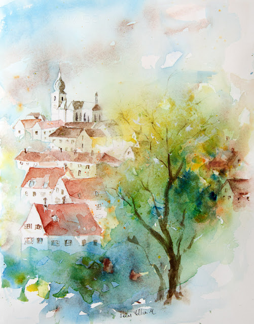 watercolor french town Remiremont