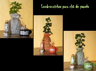 Lembranças para chá de panelas - Ervas aromáticas, árvore da felicidade, mini panelinha e tubetes com temperos variados.