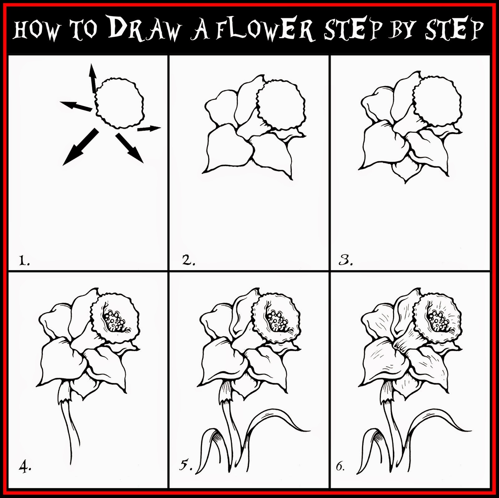 How To Draw A Flower Step By January 2017 Learn To Draw And Paint