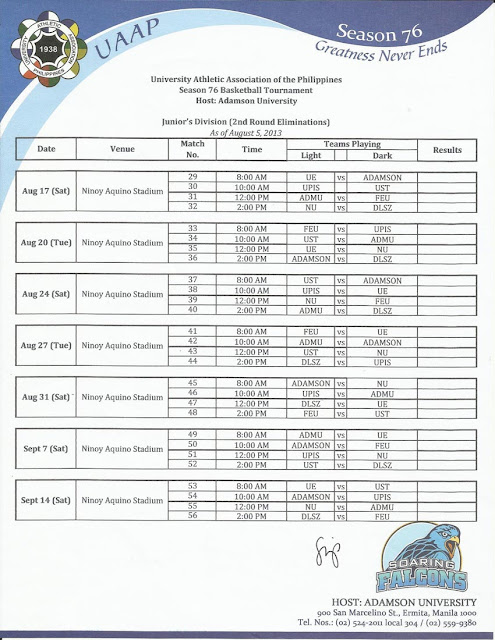 all the juniors matches are scheduled to take place at the ninoy