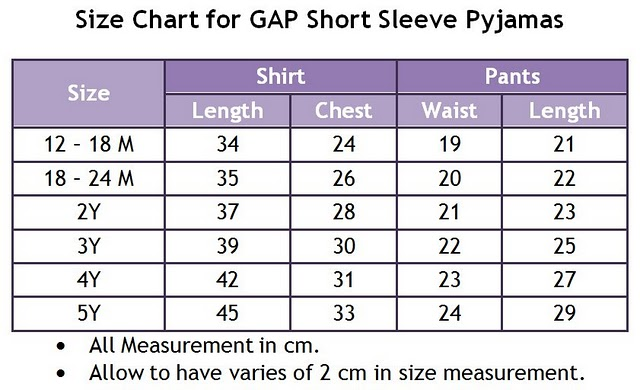 Branded Baby & kids clothes|GAP pajamas RM23: Size Chart