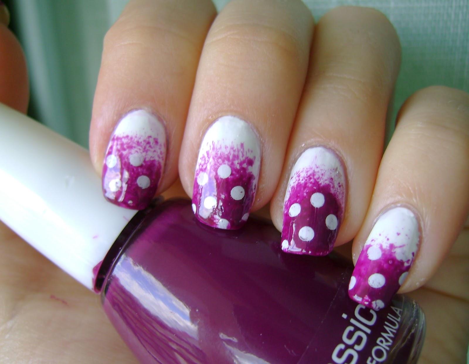 Acrylic Nail Art Designs Purple Polka Dot Manicure