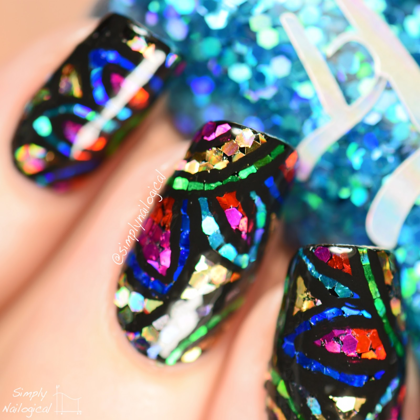 Simply Nailogical: Stained glass glitter placement + easy removal!