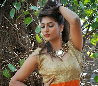 Neha Saxena hot bold look in orange gold salwar suit