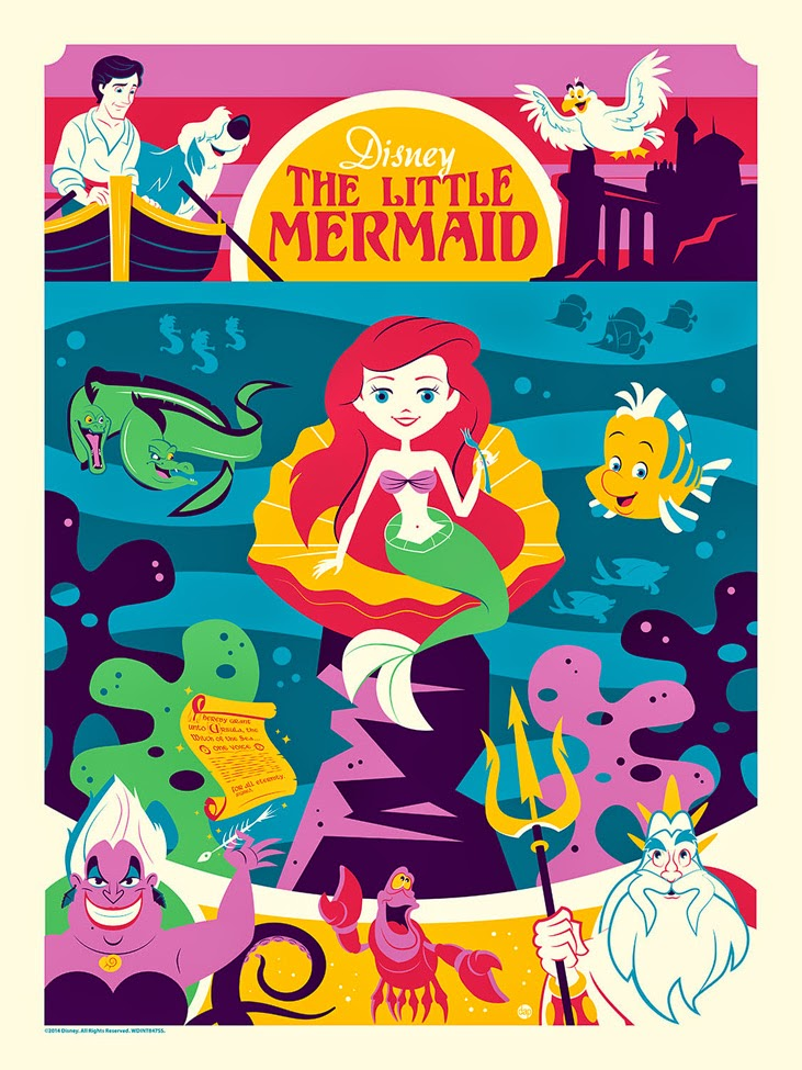 """Greetings from Under the Sea"" The Little Mermaid Screen Print by Dave Perillo"