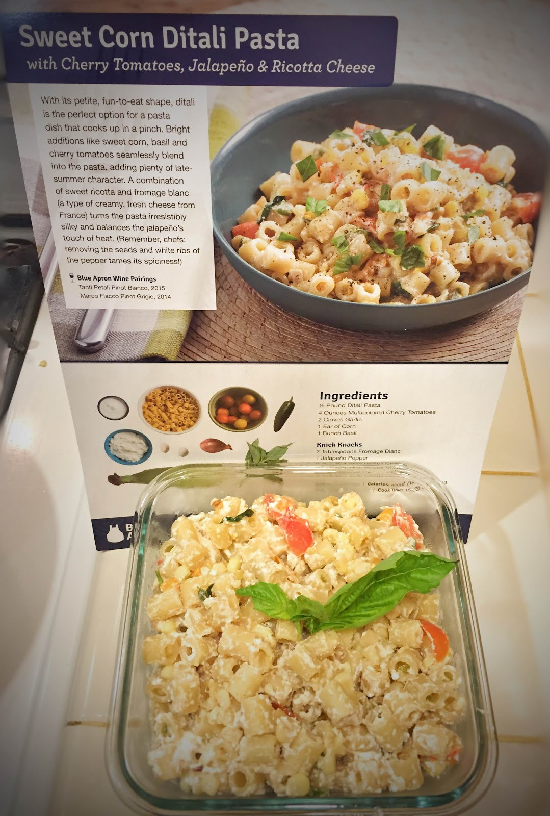 Blue apron yellow tomato pasta