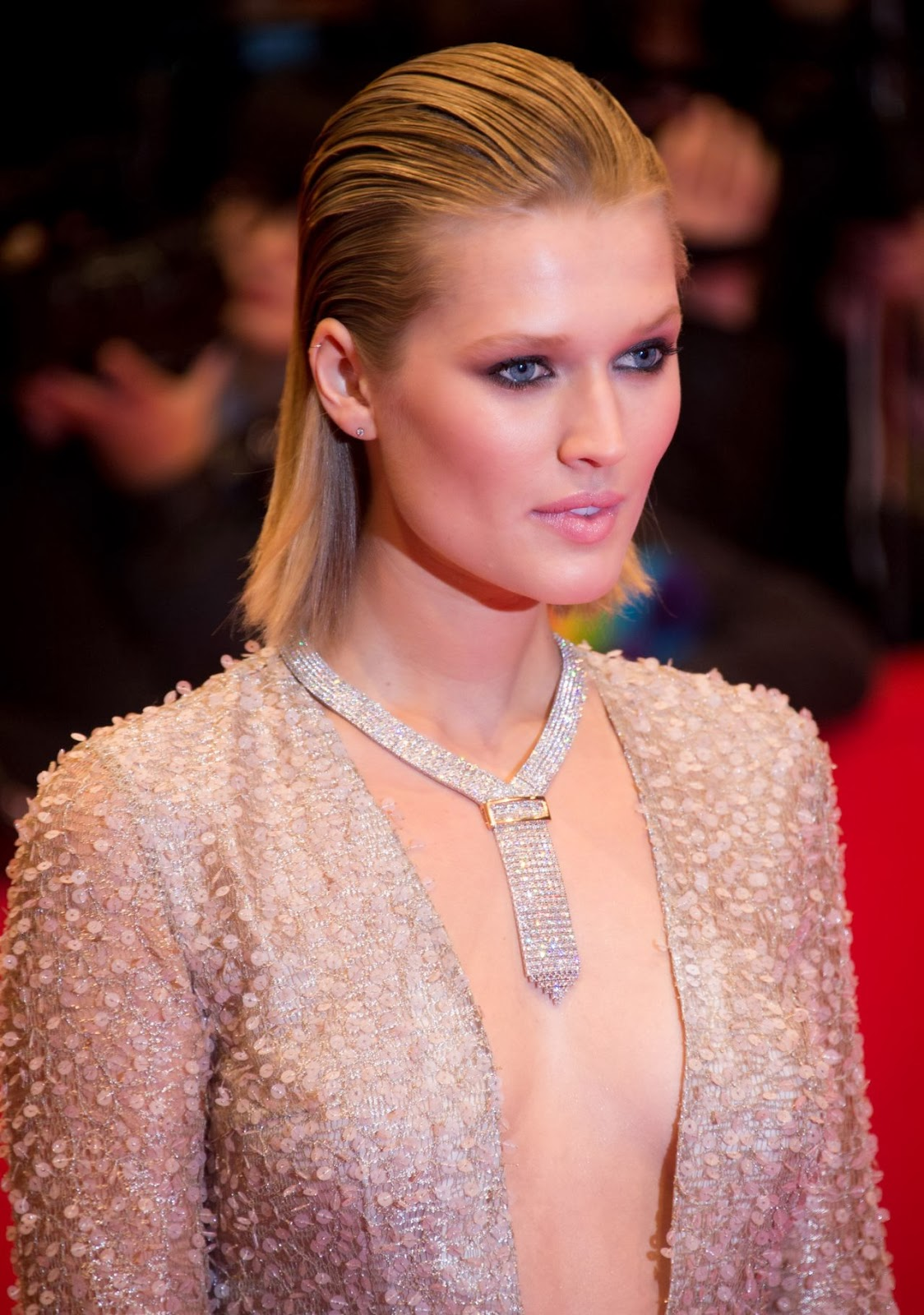 Toni Garrn braless showing cleavage at 'The Grand Budapest Hotel' premiere in Berlin