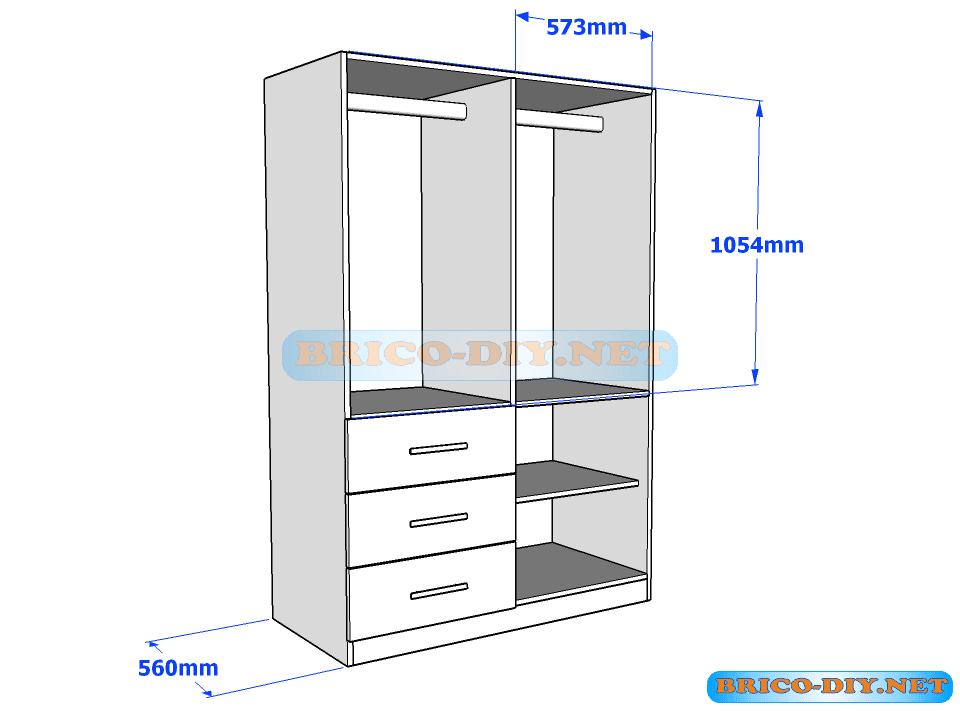 Plano de ropero guardarropa de melamina blanco con gavetas for Programa para fabricar muebles de melamina gratis