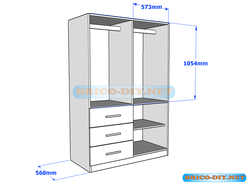 Plano de ropero guardarropa de melamina blanco con gavetas for Construccion de muebles de madera pdf