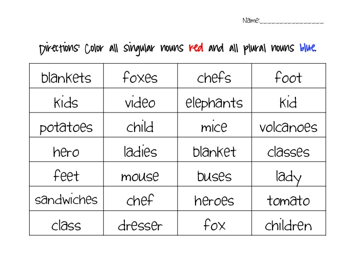 Singular And Plural Worksheets http://fancyfreein4th.blogspot.com/2012/09/singular-and-plural-noun-activity-pack.html