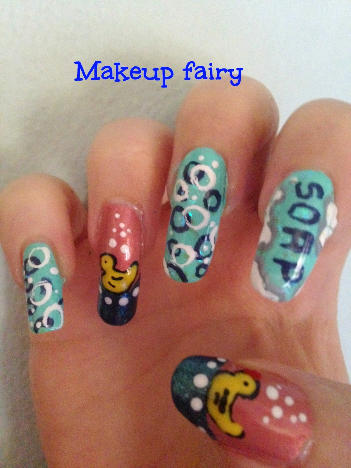Tinklesmakeup Bubbly Bath With Rubber Duck Nail Art