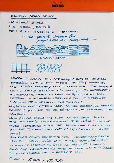 Kaweco Brass Sport fountain pen written review