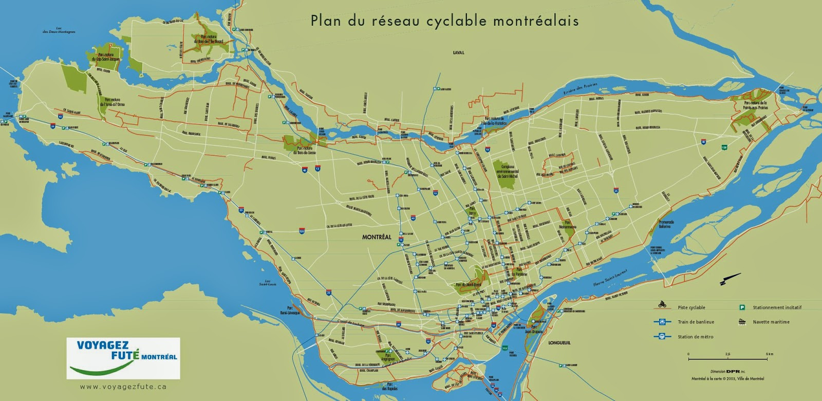 Montreal cycling network map