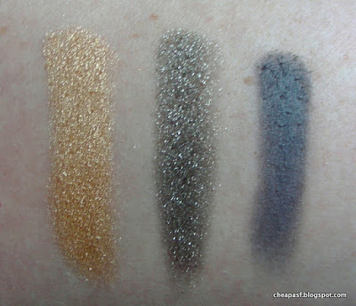 Swatches of L'Oreal Infallible Eye Shadows in Eternal Sunshine, Gilded Envy and Sultry Smoke