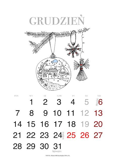 *kalendarz do druku* miesiąc GRUDZIEŃ 2015