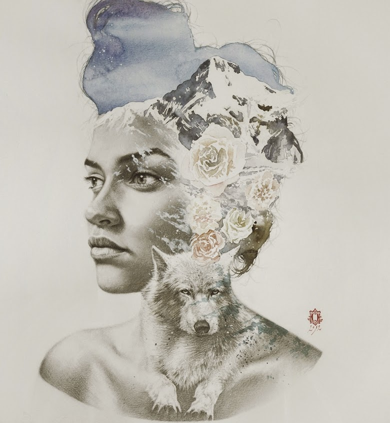 13-Oriol-Angrill-Jordà-Double Exposure-Watercolor-Paintings-www-designstack-co