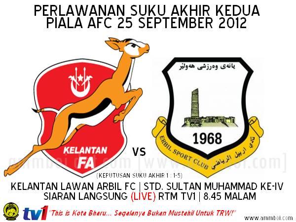 Keputusan Perlawanan Kelantan vs Arbil FC 25 September 2012