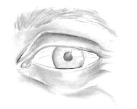 step 3 of drawing an eye