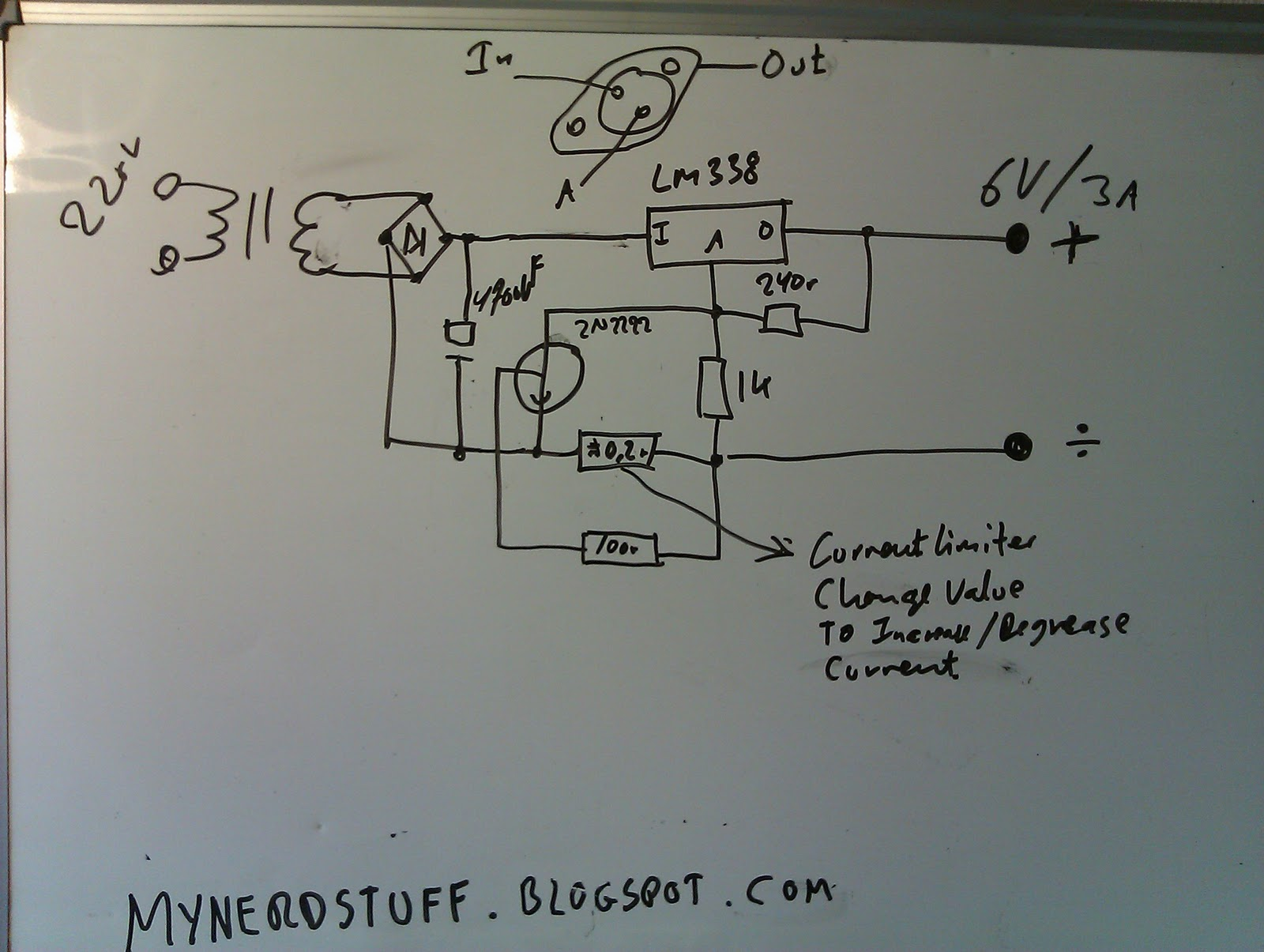 Nerdstuff Power Supply Variable With Lm338 Adjustablecurrentlimitandoutputvoltage Powersupplycircuit Basic Draft Schematic From A Test I Made Earlier Of The Dual Psu Without Current Limiter