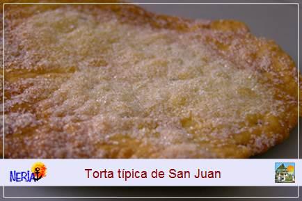 La torta de San Juan se prepara artesanalmente con harina, azúcar y matalaúva, tiene una gran aceptación popular como postre de esta fiesta