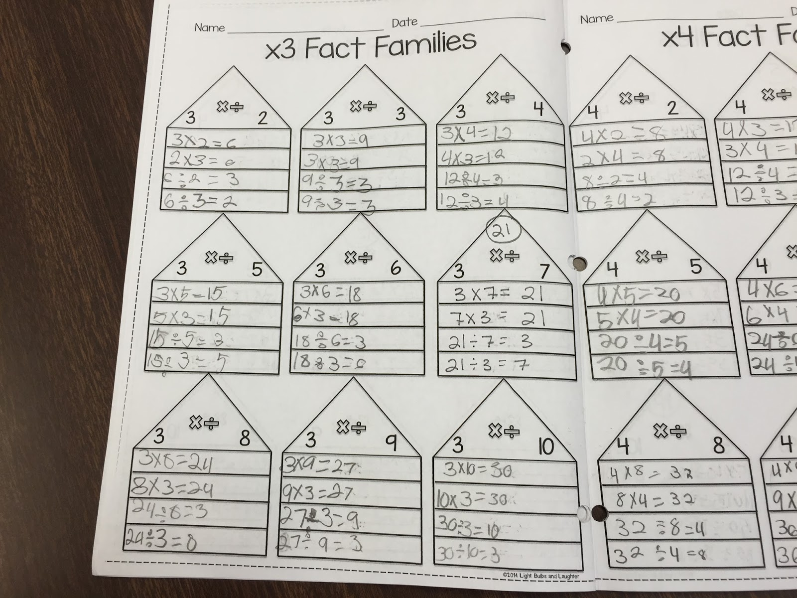 math worksheet : light bulbs and laughter multiplication and division fact families : Multiplication Division Fact Family Worksheets