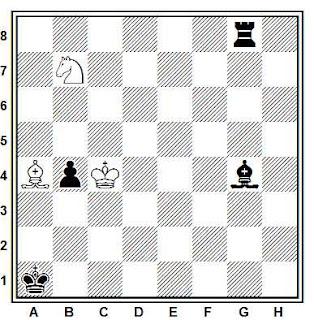 Estudio artístico de ajedrez Julio Bandrés Carballo, caballo y alfil contra torra, alfil y peón
