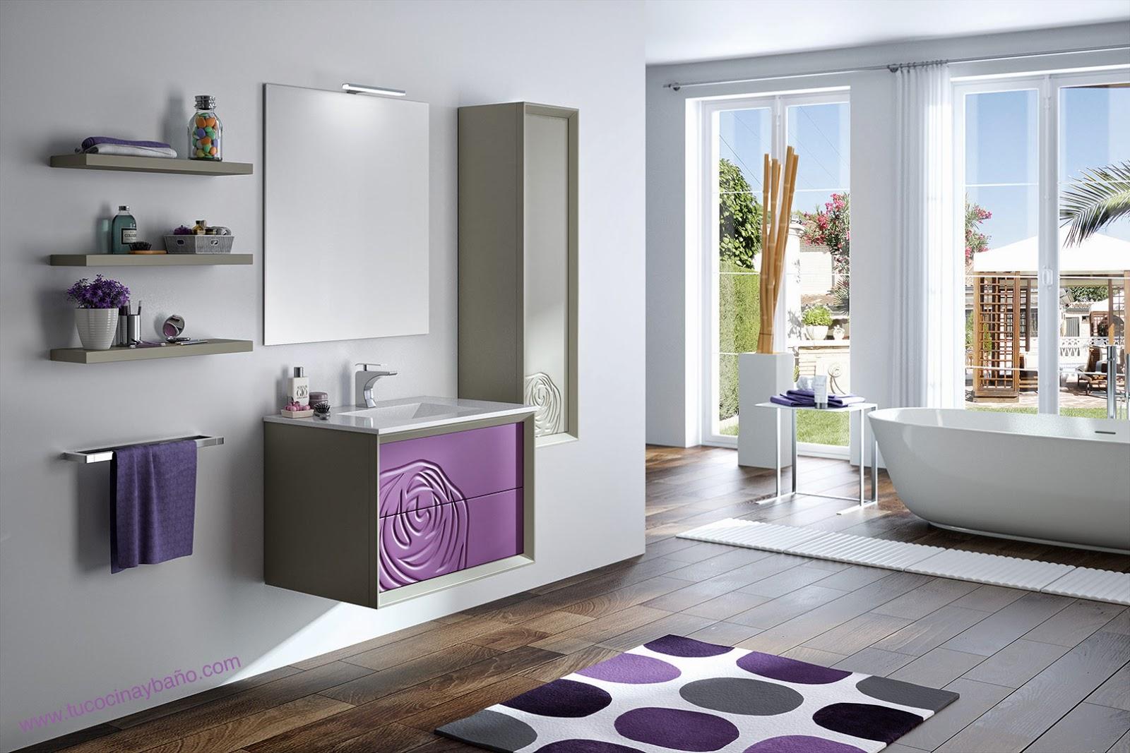 Mueble de ba o rosal 2 colores tu cocina y ba o for Muebles altos de bano