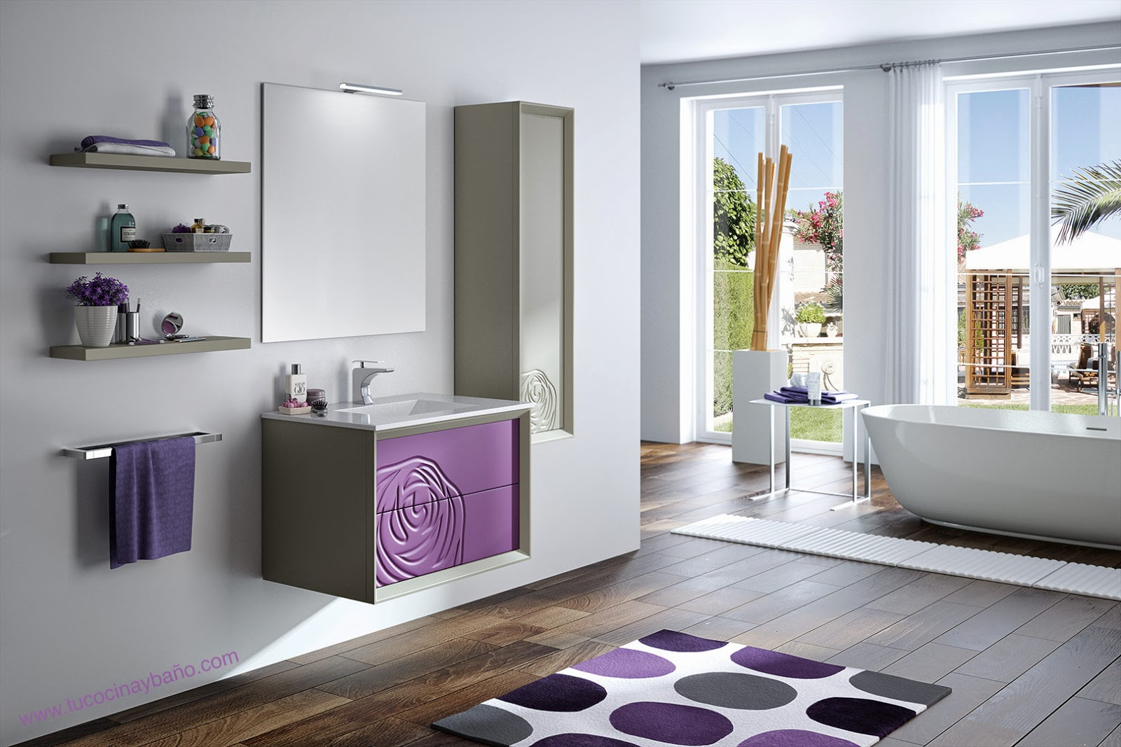 mueble baño topo berenjena flor