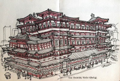 The Buddha Tooth Temple sketch