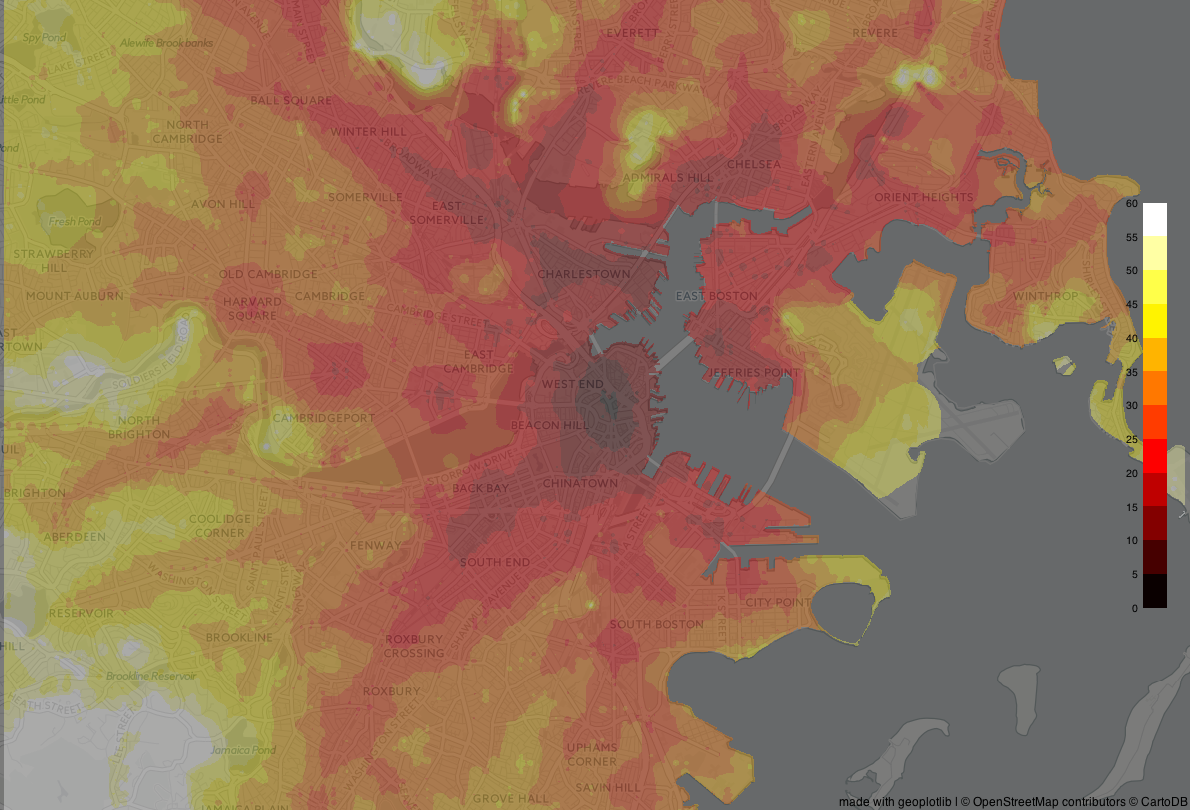 Visualizing travel time in Boston