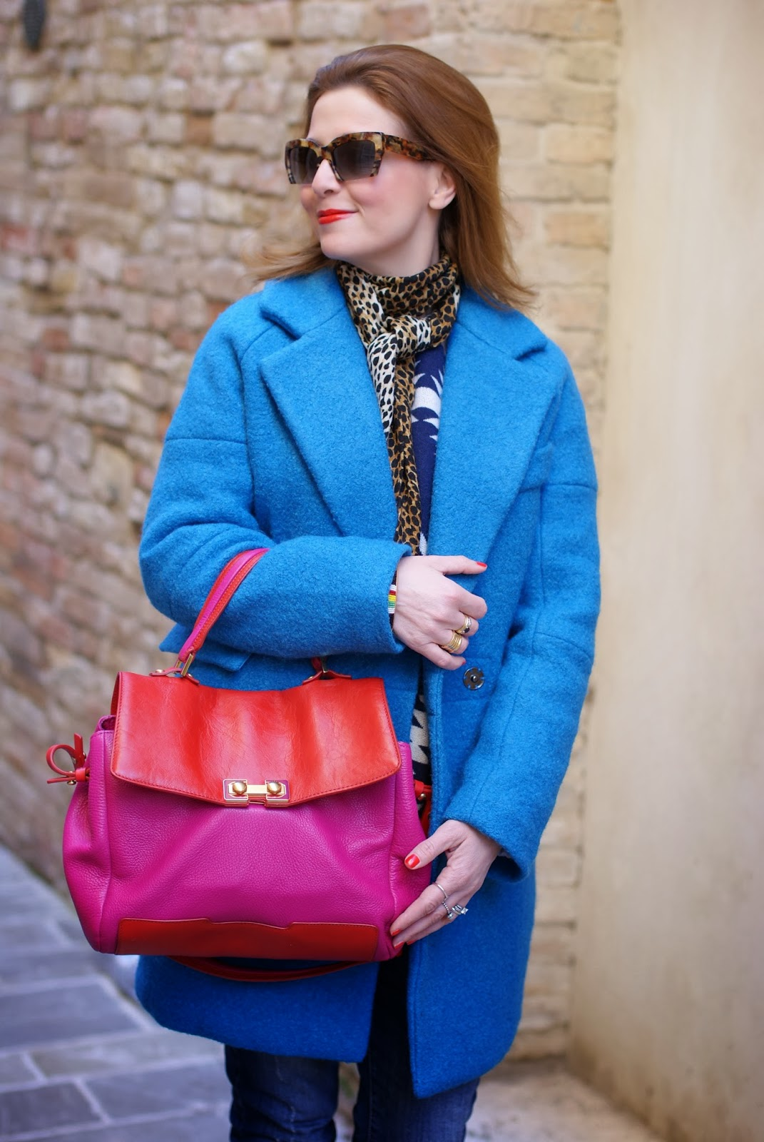 Miu Miu rasoir sunglasses, Dolce & Gabbana leopard scarf, Blue oversized coat, Marc by Marc Jacobs color block bag, Fashion and Cookies, fashion blogger