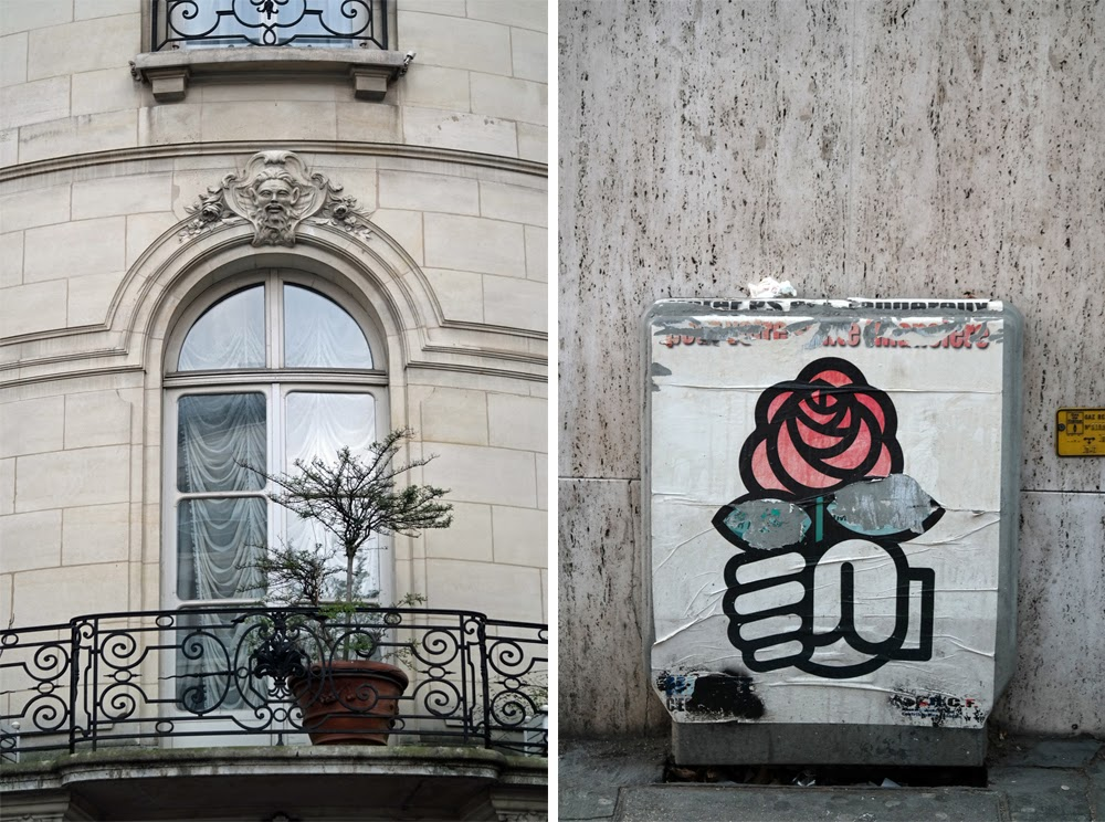 Parisian window / poster of a hand holding a rose