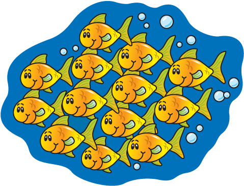 School of fish clipart for Little fishes swim school