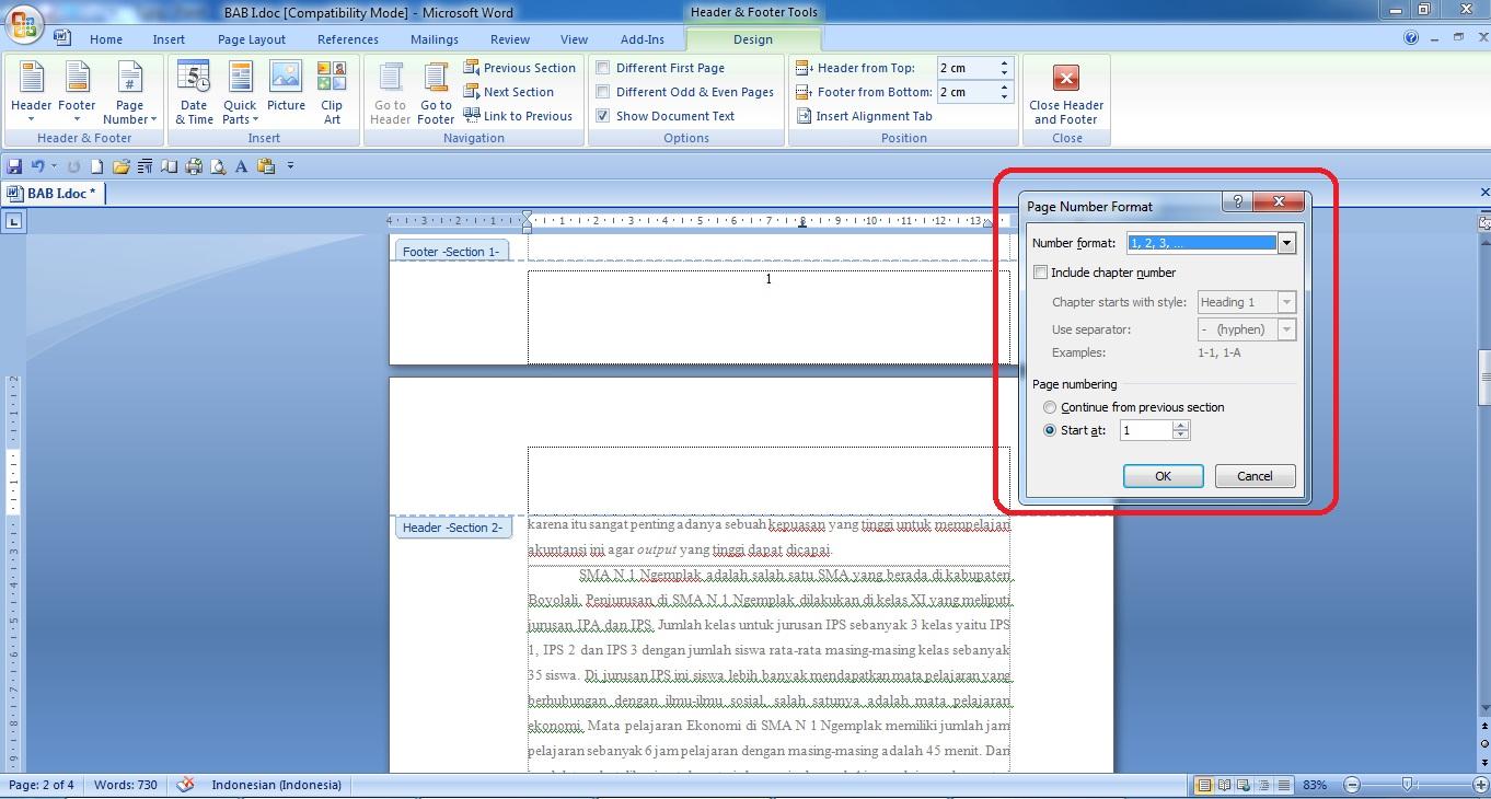 membuat format halaman berbeda di word cara membuat