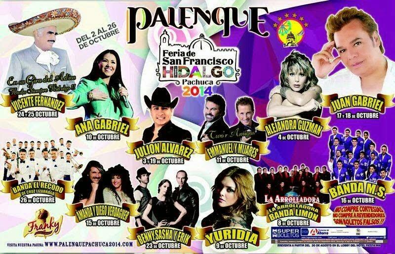 Cartelera Palenque Feria Pachuca 2014 boletos