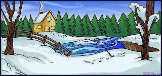 Peisaje de iarna de colorat