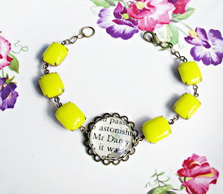 image neon yellow bracelet vintage stones mr darcy pride and prejudice jane austen two cheeky monkeys