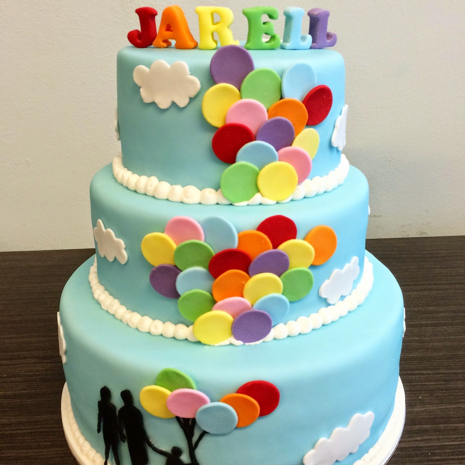 Rainbow Balloon Silhouette Cake