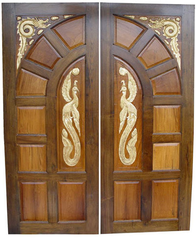 New kerala model wooden front door double door designs for Double door wooden door
