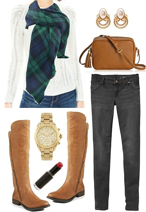 green plaid zara blanket scarf outfit idea