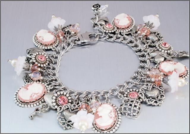 cameo charm bracelet, vintage charm bracelet, heart charm bracelet, victorian bracelet