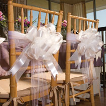 Tulle and Ribbon Wedding Chair Decorations by Dollar Tree