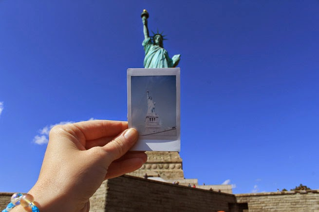 Statue of Liberty through Fujiflim Instax Polaroid