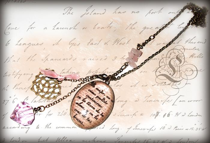 Bisuteria original y romántica Collar.vintage.poema-pablo-neruda